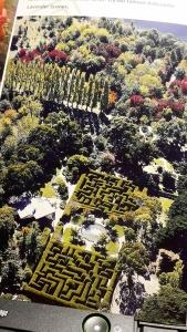 Flygfoto från broschyren. Roslabyrinten döljs av trädens skuggor uppe till vänster